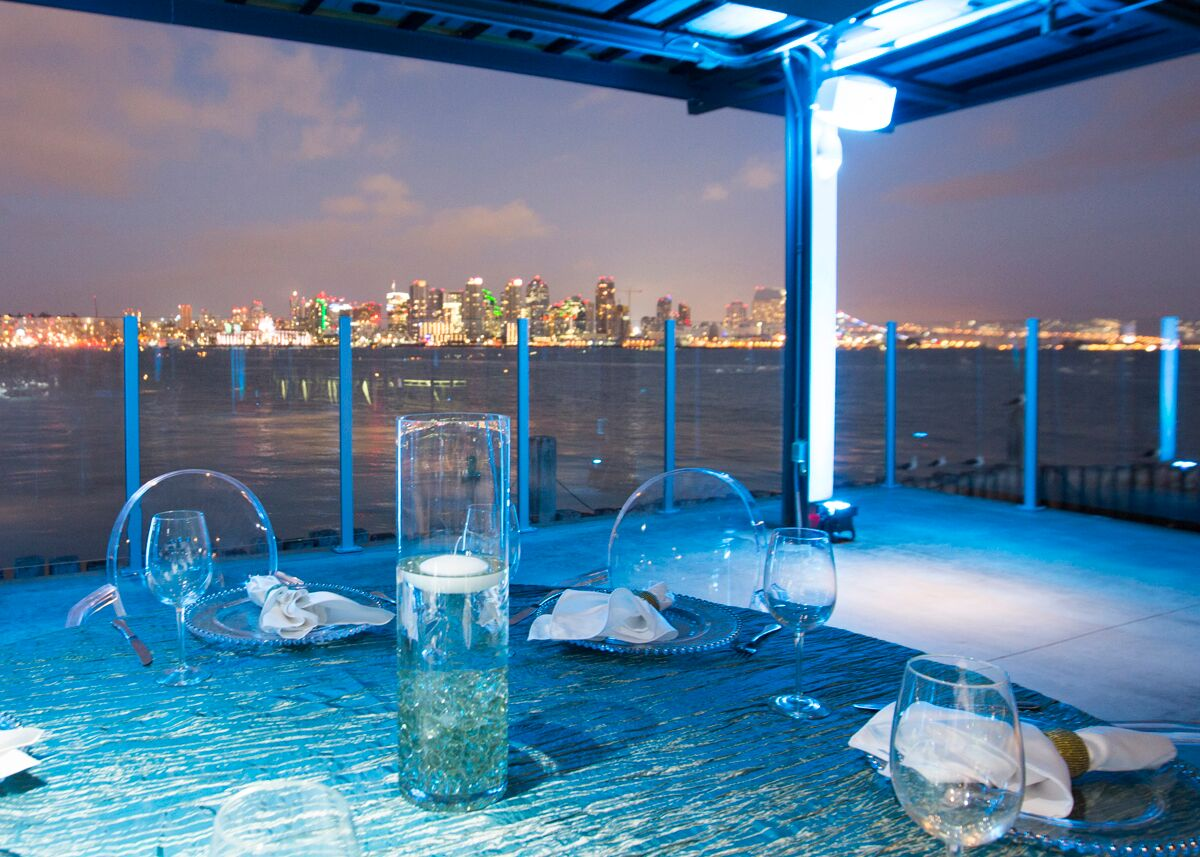 Coasterra Harbor Float Reception Only: up to 500 Guests. Stunning view from San Diego Dowtown.